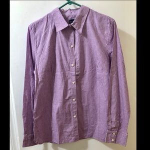 Gap purple gingham fitted top